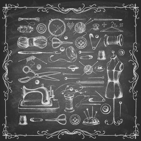 Set of needlework - scissors, measuring tape, mannequin, sewing and more on the blackboard. Retro vintage style. Vector illustration.