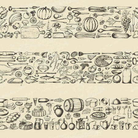 Retro vintage style food design on old paper. Hand drawn elements for cooking, vegetables, restaurant and vegetarian food. Seamless background. Vector illustration.