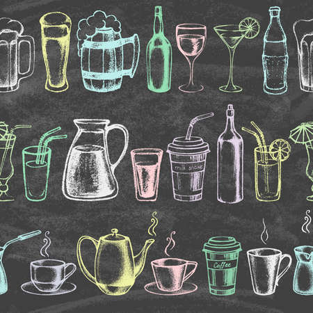 Set of different hand drawn beverages on the blackboard. Seamless background. Vector illustration.