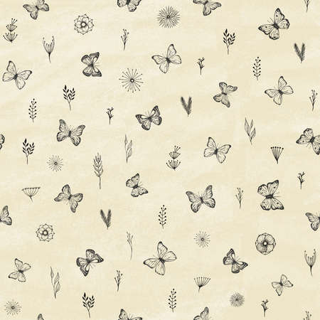 Set of hand drawn butterflies. Entomological collection of highly detailed hand drawn butterflies and branches, flowers, leaves. Retro vintage style. Seamless pattern. Vector illustration. 일러스트
