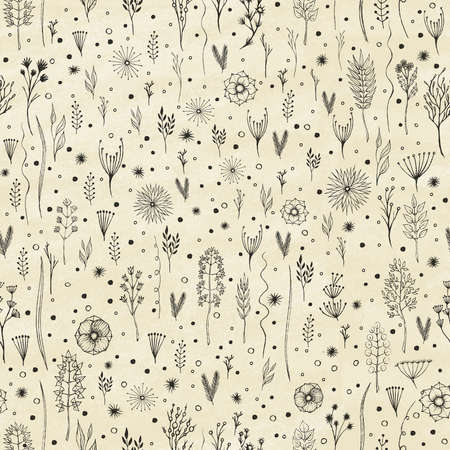 The composition with branches, flowers, leaves. Seamless pattern. Hand drawn elements. Vector illustration 일러스트