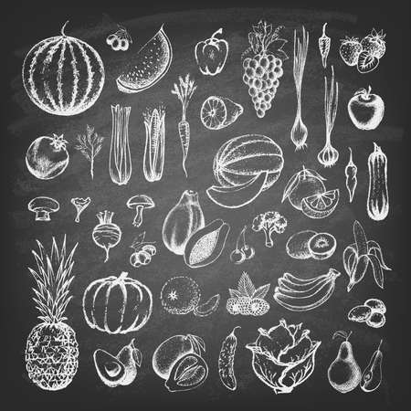 Set of fruits and collection of hand-drawn vegetables on the blackboard. Vector illustration.