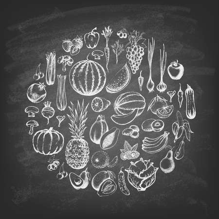 The composition with fruit and vegetable in a circle on the blackboard. Hand drawn elements. Vector illustration