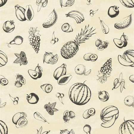 Set of fruits on old paper. Seamless pattern. Hand drawn elements. Vector illustration. 일러스트