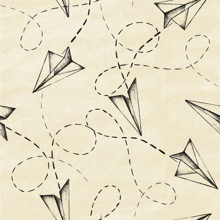 Abstract background with hand drawn planes and lines. Seamless pattern on old paper. Vector illustration.