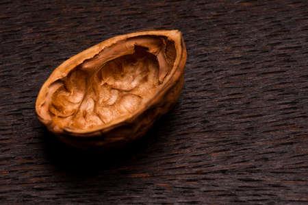 nutshell: nutshell on dark brown wood