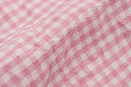 close p: checked gingham pattern, rose white Stock Photo