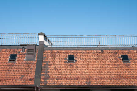 multifamily: old town house roof Stock Photo