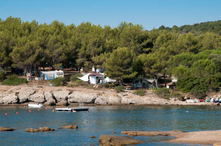 corsica: camping beach in Corsica, France