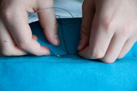 upholstery: upholstery hand sewing Stock Photo