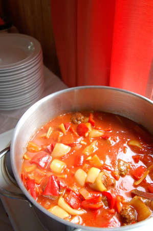 hungarian: Letscho- Hungarian paprika pepper soup with meatballs
