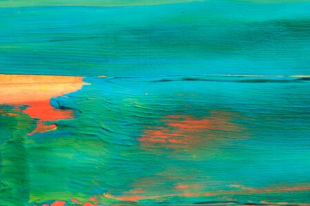 Abdtract gouache painting, blue green and orange, detail