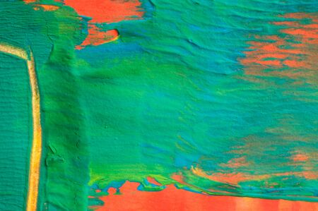 Abstract watercolor painting, blue, orange, yellow and green, detail