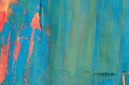 Abstract painting, blue green and orange, detail Archivio Fotografico