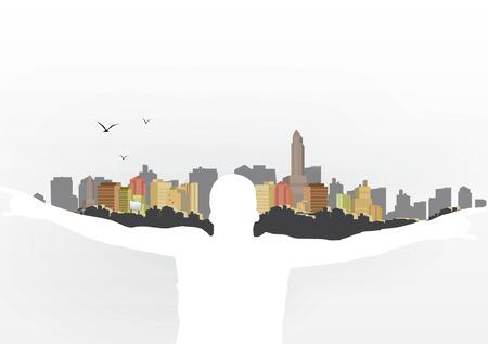 Man Holding City on Shoulders - Vector Illustration