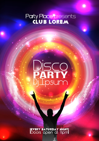 Disco Party Flyer Background Template Illustration 向量圖像