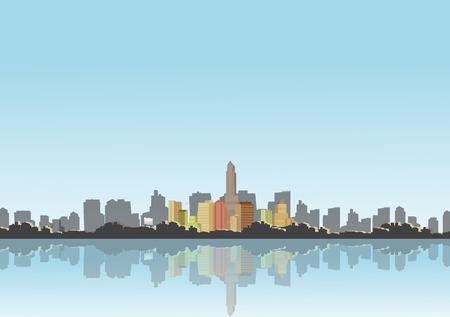 City Skyline with Reflections Background Illustration