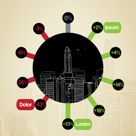 Retro City Background with Infographic - Vector Illustration Vector