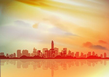 multi storey: Retro City Background - Vector Illustration