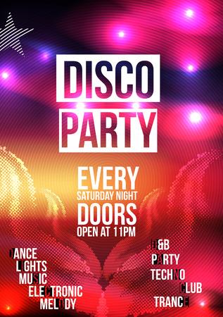rave party: Plantilla del fondo del cartel del partido de danza - ilustraci�n vectorial