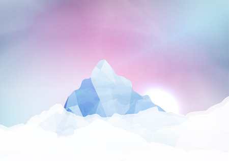 Snowy mountains - Vector Illustration Vector