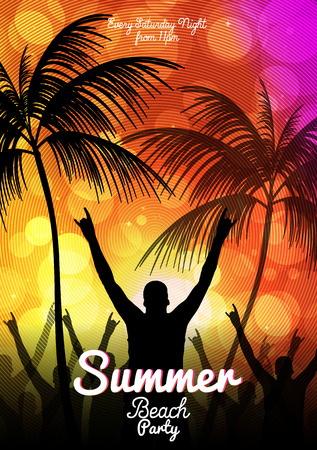 beach happy new year: Summer Beach Party Flyer Template - Vector Illustration