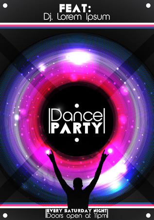 Dance Party Poster Background Template - Vector Illustration Ilustrace