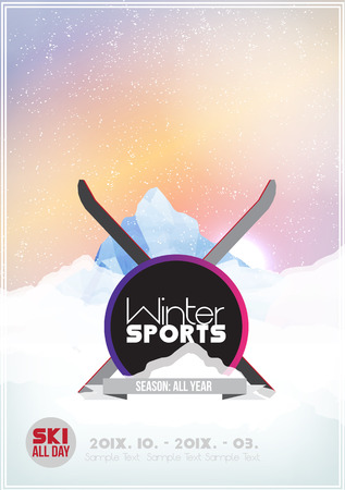 ski resort: Mountain Party Poster Template - Vector Illustration Illustration