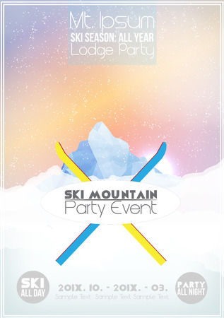 Mountain Party Poster Template - Vector Illustration 向量圖像