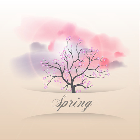 cherry blossom tree: Card with Beautiful Flowering Japanese Cherry Blossom Tree and banner on elegant background in modern style  Perfect for wedding, greeting or invitation  - Vector Illustration