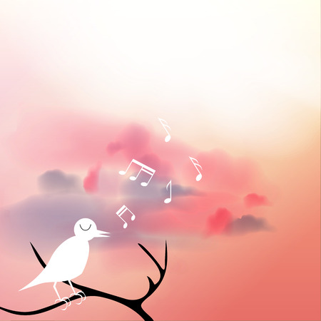 Beautiful Flowering Japanese Cherry Background with Flowers and Singing Birds on a Spring day - Vector Illustration Vector