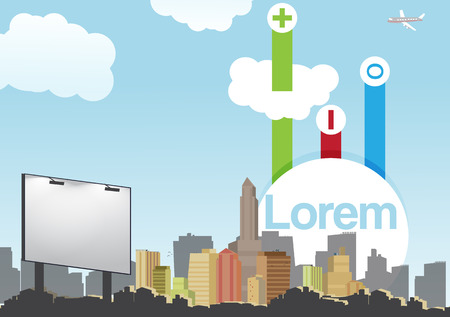 multi storey: Retro City Skyline Background with Infographic - Vector Illustration Illustration