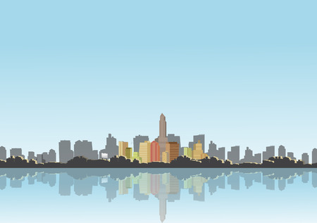 City Skyline with Reflections Background - Vector Illustration