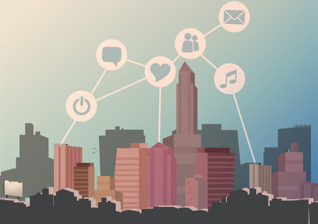 city background: Abstract City Skyline with Social Media, Network and Web Design Elements - Vector Illustration