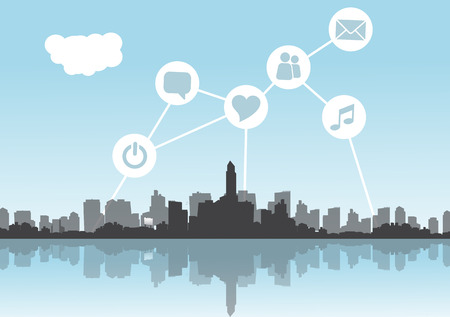 Abstract City Skyline with Social Media, Network and Web Design Elements - Vector Illustration