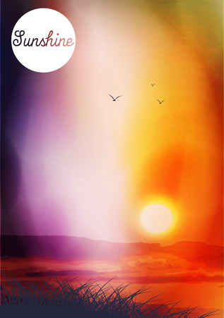 Sunset and Field with Birds - Vector Illustration Vector