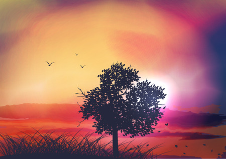Sunset and Tree with Birds - Vector Illustration
