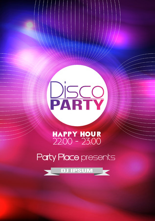rave: Disco Party Poster Background Template - Vector Illustration Illustration