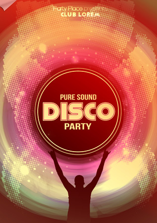 urban dance: Disco Party Poster Background Template - Vector Illustration Illustration