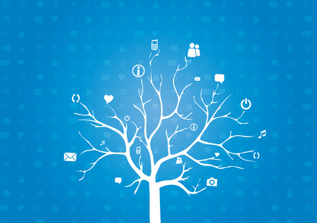 Abstract Tree Background with Circles and Icons  Tree concept for Communication, Social Media, Network and Web Design - Vector Illustration Illustration