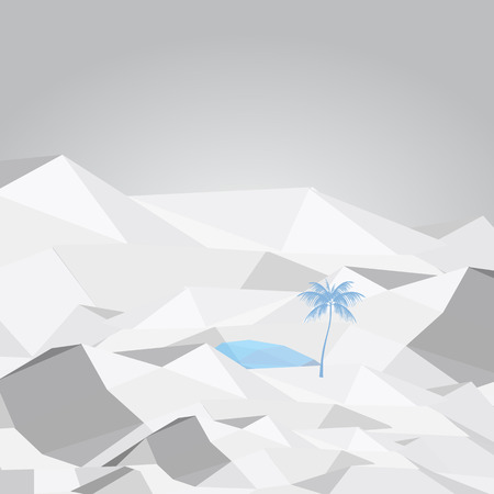 mirage: Abstract Desert Oasis with Palm Tree and Water - Vector Illustration