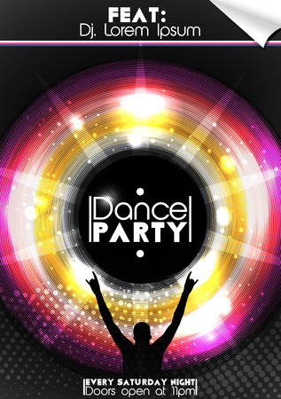 Disco Party Poster Background Template  Illustration