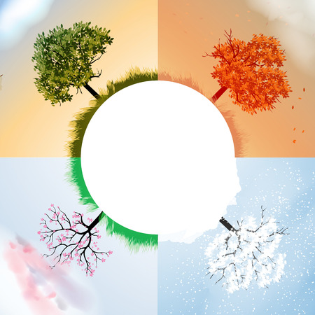 Four Seasons Spring, Summer, Autumn, Winter Banners with Abstract Trees