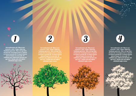 forest conservation: Four Seasons Banners with Abstract Trees  Illustration
