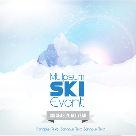 ski resort: Ski Party Poster Template with Mountain in Clouds  Illustration