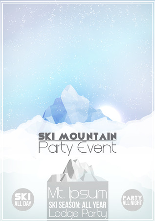 Ski Party Poster Template with Mountain in Clouds Vector