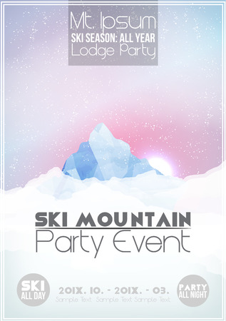 Ski Party Poster Template with Mountain in Clouds  イラスト・ベクター素材