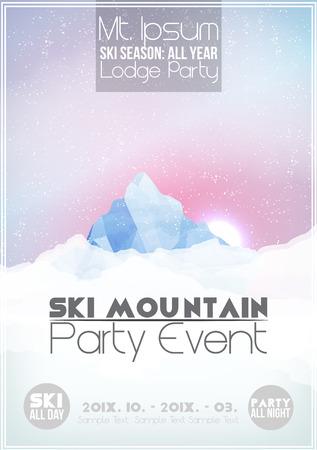 Ski Party poster sjabloon met Berg in de Wolken