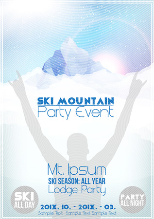 Ski Party Poster Template with Mountain in Clouds 向量圖像