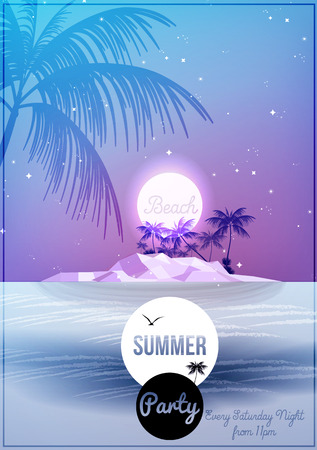 Summer Night Party Flyer Template  Vector